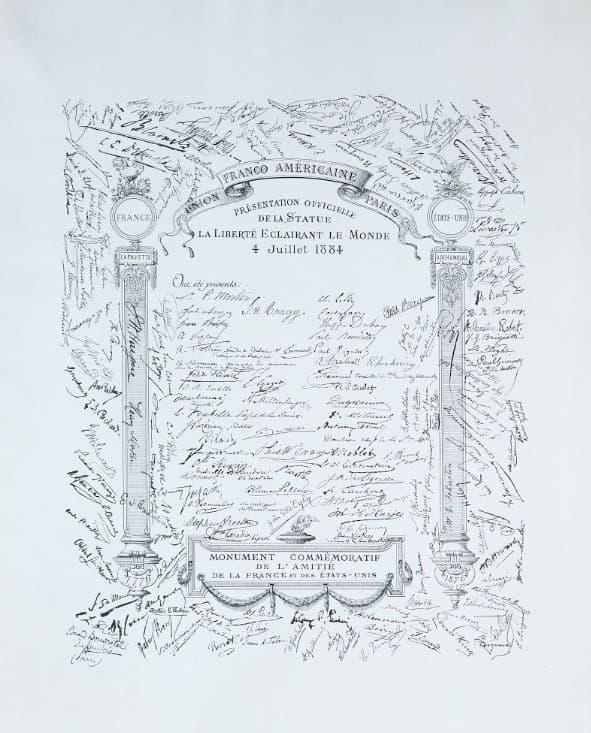 escrito de donacion de la estatua de francia a estados unidos