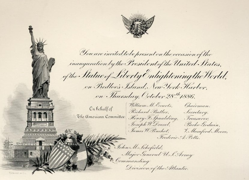 invitacion inauguracion estatua de la libertad