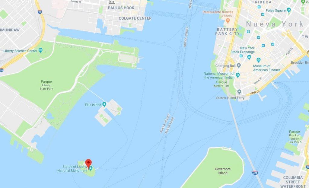 mapa ubicacion estatua de la libertad